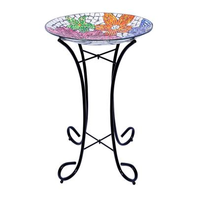 18 in. Floral Metallic Mosaic Glass Birdbath with Metal Stand