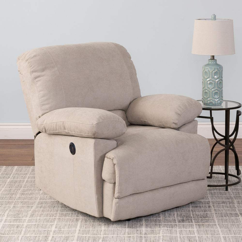 Lea Beige Chenille Fabric Power Recliner with USB Port