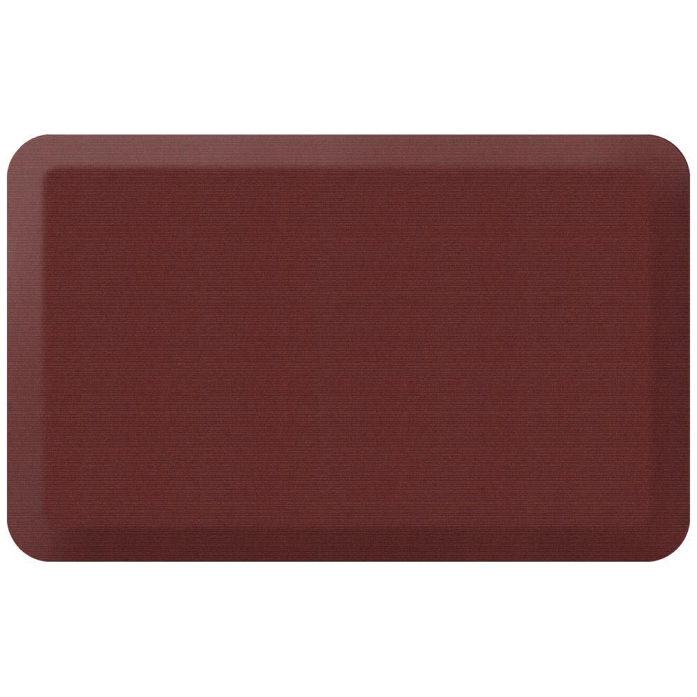 NewLife Designer Grasscloth Crimson 20 in. x 32 in. Anti-Fatigue Comfort Kitchen Mat