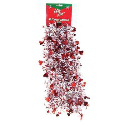 9 ft. Valentine White Heart Tinsel Garland (Set of 4)