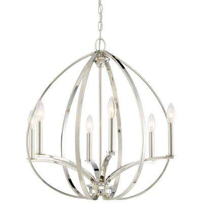 Tilbury 6 Light Polished Nickel Chandelier