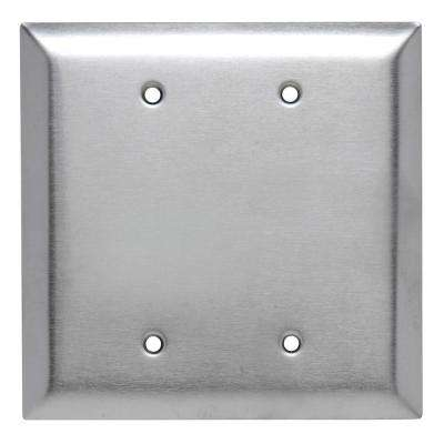 Pass & Seymour 302/304 S/S 2 Gang 2 Box Mounted Blank Oversized Wall Plate, Stainless Steel (1-Pack)