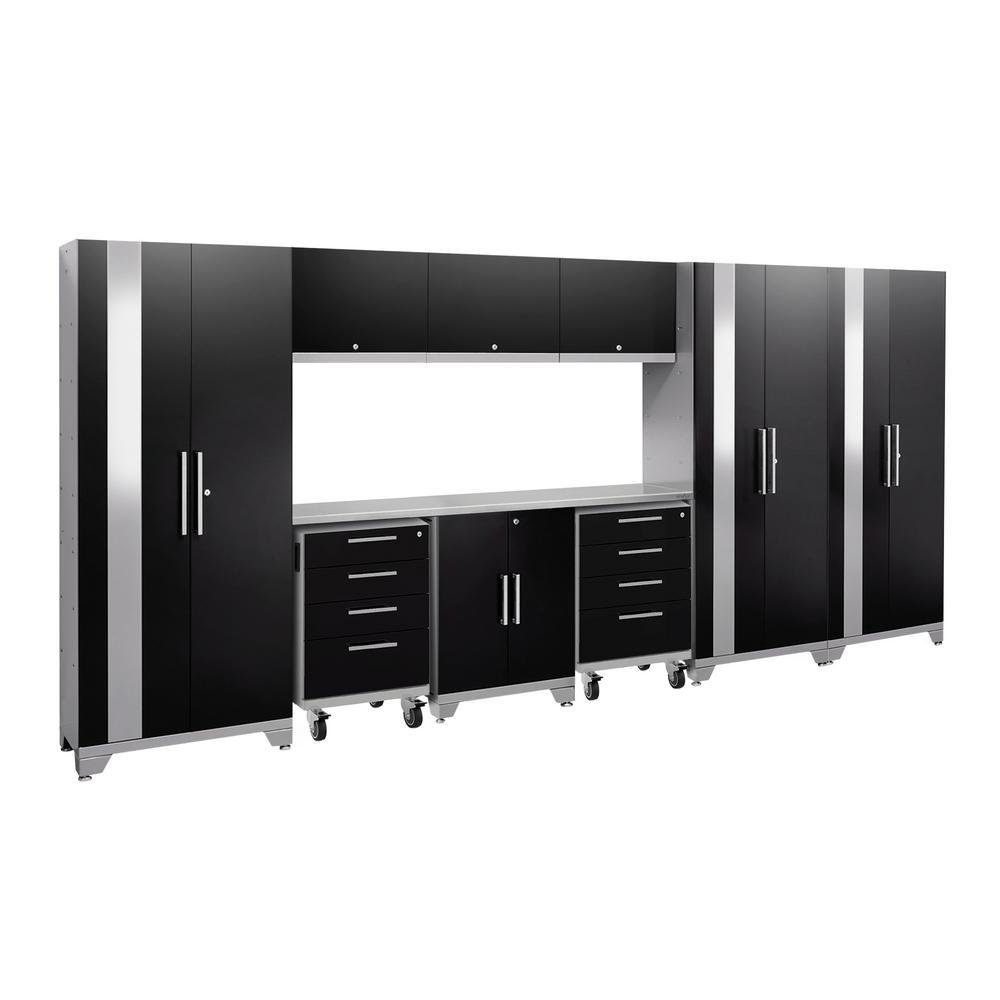 Performance 2.0 77.25 in. H x 162 in. W x 18 in. D 24-Gauge Welded Steel Garage Cabinet Set in Black (10-Piece)