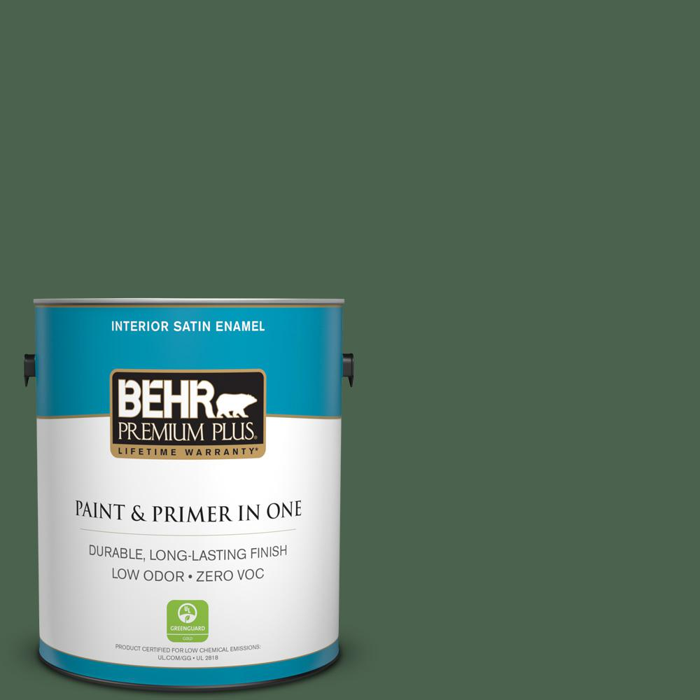 BEHR Premium Plus 1-gal. #S410-7 Equestrian Green Satin Enamel Interior Paint