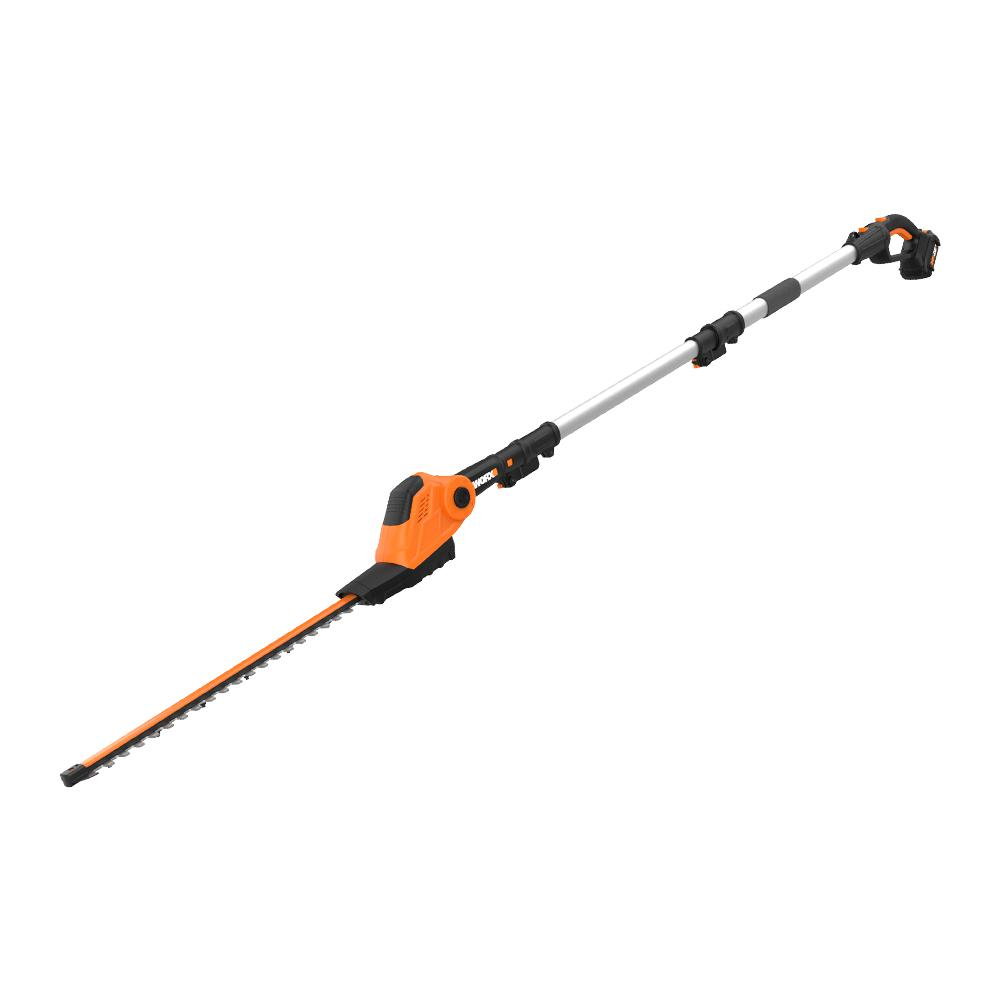 WORX POWER SHARE 20-Volt 20 in. Cordless Pole Hedge Trimmer, 13 ft Reach and 10-Position Head (Battery and Charger Included) | WG252