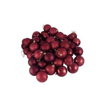 2.5 in. (60 mm) Burgundy Red Shatterproof 4-Finish Christmas Ball Ornaments (60-Count)