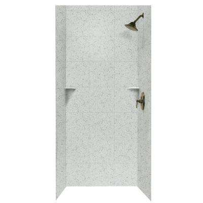 Square Tile 36 in. x 36 in. x 96 in. 3-Piece Easy Up Adhesive Alcove Shower Surround in Tahiti Gray