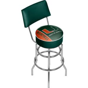 University of Miami Text 31 in. Chrome Padded Bar Stool