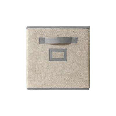 10.5 in. x 11 in. Fabric Glimmer Storage Bin in Creme