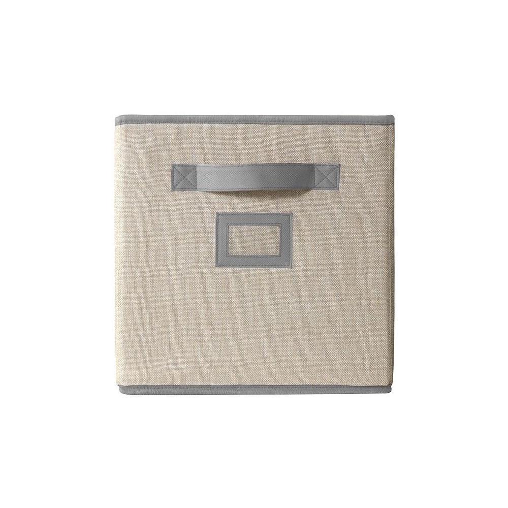 11 in. D x 11 in. H x 11 in. W Crème Fabric Cube Storage Bin