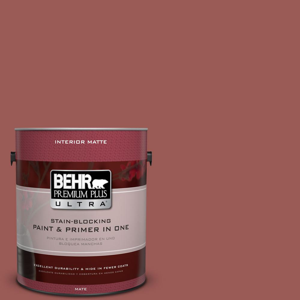 1 gal. #PMD-86 Arabian Red Matte Interior Paint and Primer in