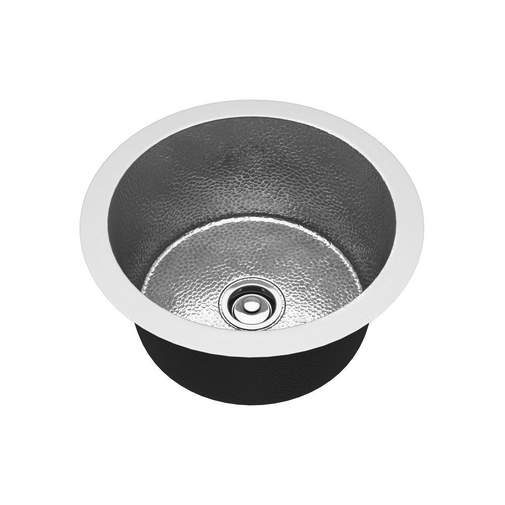 Compass Undermount Handmade Copper 17 in. Single Bowl Kitchen Sink in Hammered Nickel