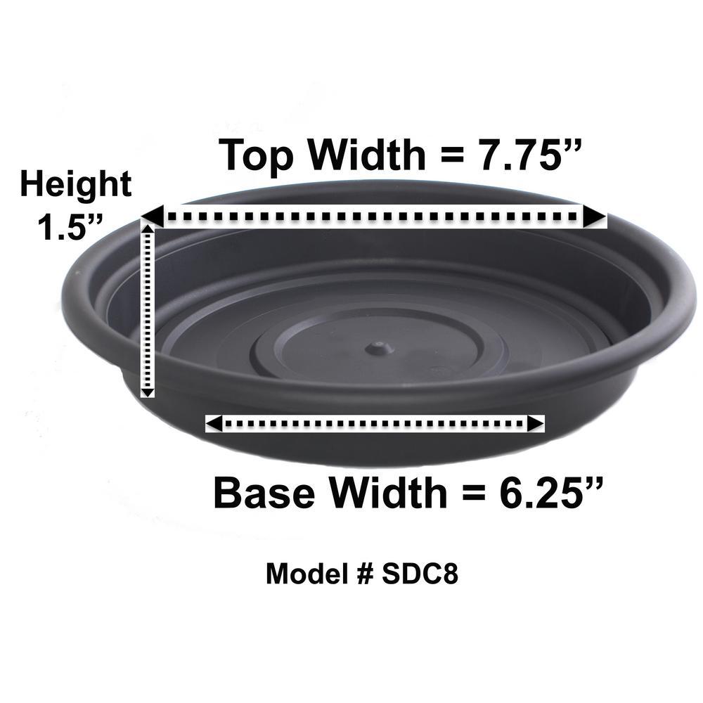 8 in. Black Plastic Dura Cotta Saucer