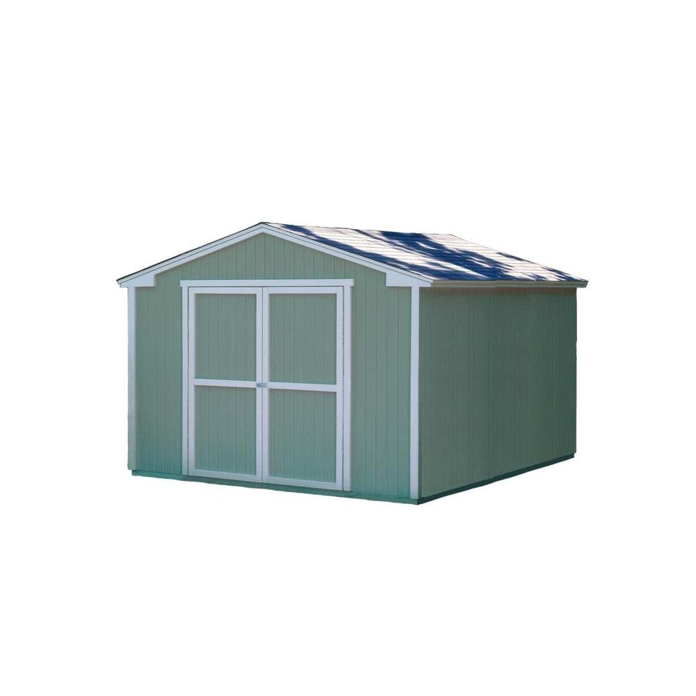 Handy Home Products Cumberland 10 ft. x 12 ft. Wood Storage Building Kit with Floor-DISCONTINUED