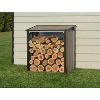 4 ft. H x 2 ft. D x 4 ft. W Arrow Galvanized Steel Firewood Rack in Mocha with Fire-Rated Fabric and Pent Roof