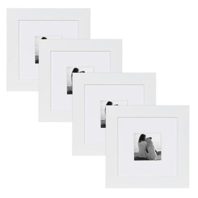 Museum 8 in. x 8 in. Matted to 4 in. x 4 in. White Picture Frame (Set of 4)