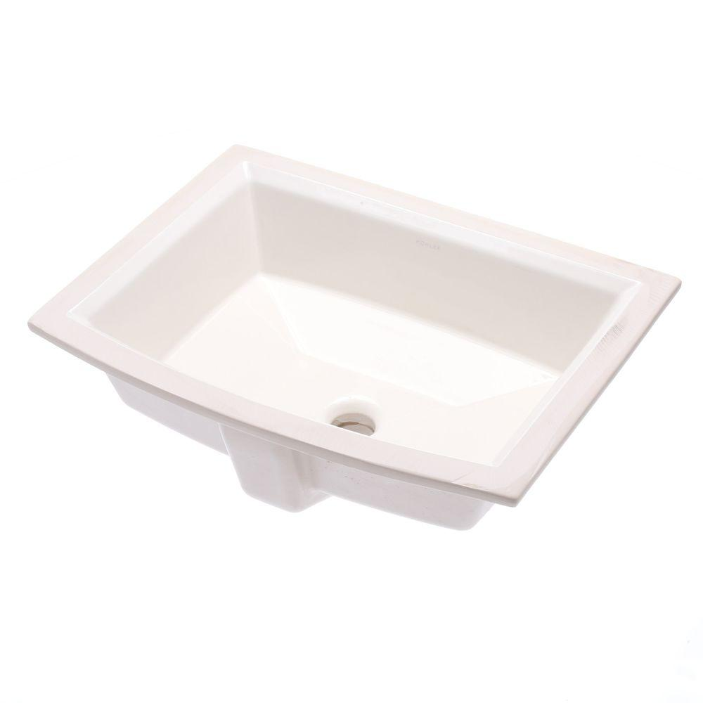Merveilleux KOHLER Archer Vitreous China Undermount Bathroom Sink With Overflow Drain  In White With Overflow Drain K 2355 0   The Home Depot