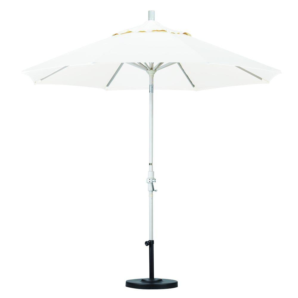 California Umbrella 9 ft. Aluminum Collar Tilt Patio Umbrella in White Olefin