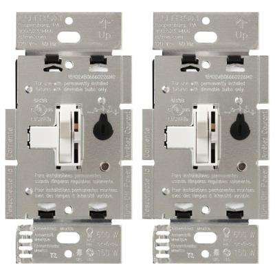 Toggler C.L Dimmer for Dimmable LED Single-Pole or 3-Way Halogen and Incandescent Bulbs, White (2-Pack)