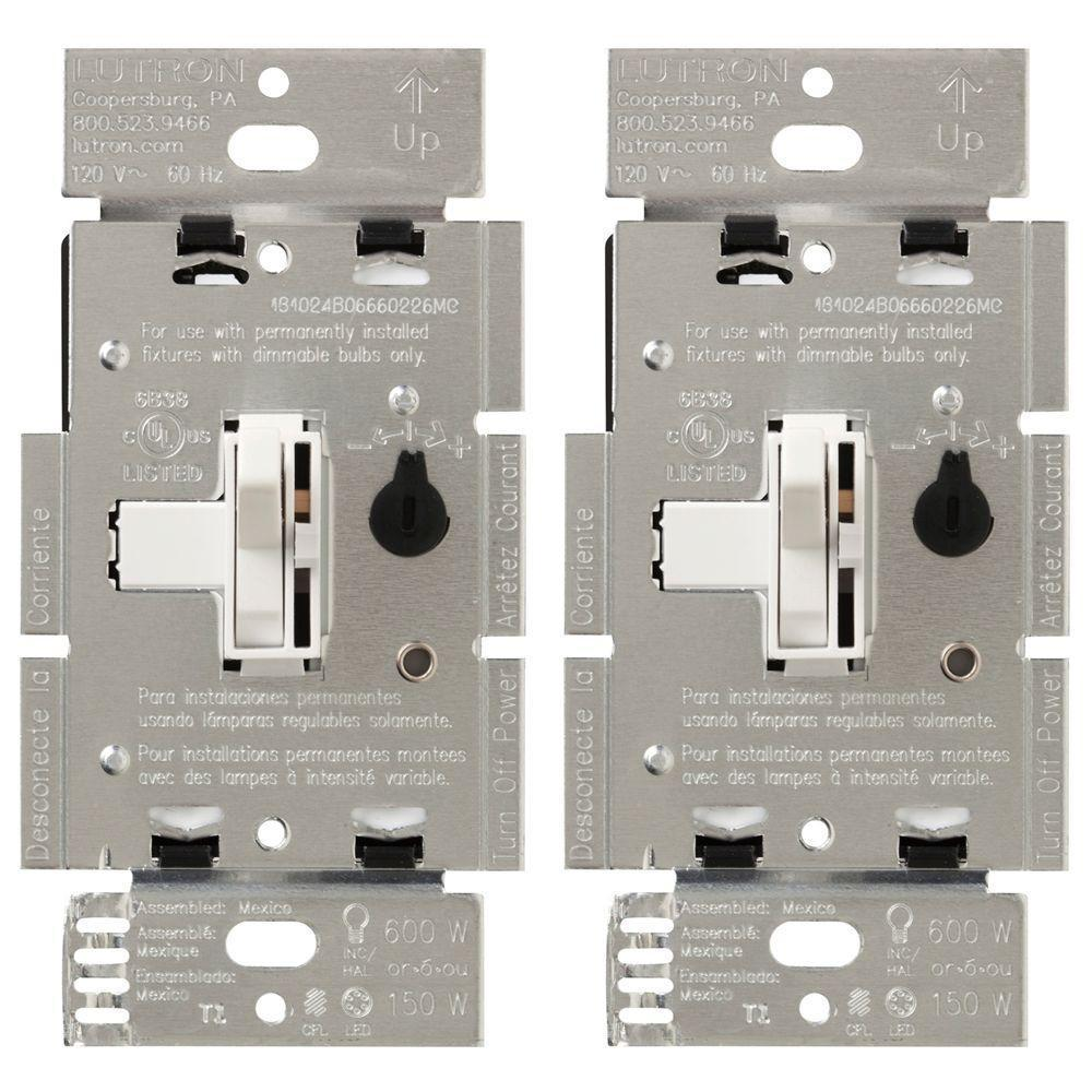 Lutron Toggler Cl Dimmer Switch For Dimmable Led Halogen And Three Way Incandescent Bulbs Single