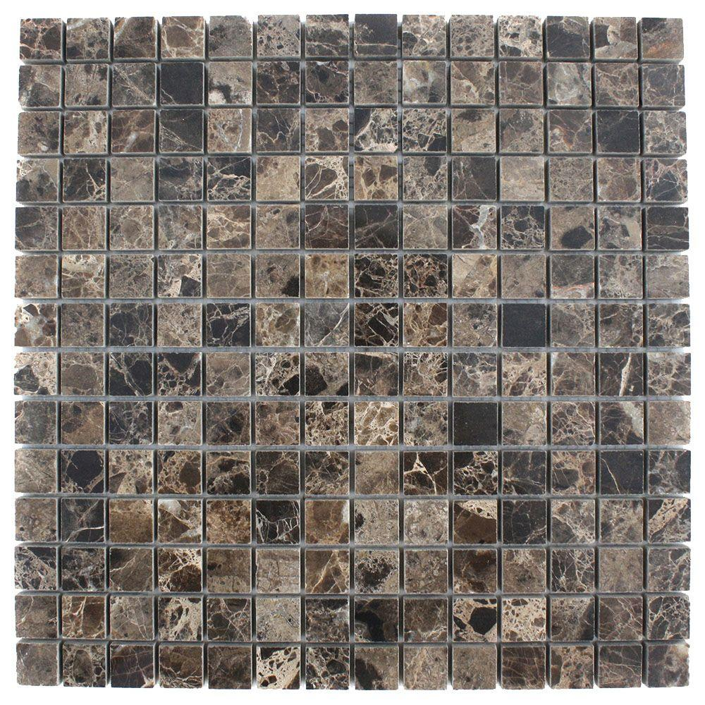 Ivy Hill Tile Dark Emperidor Squares 12 in. x 12 in. x 8 mm Marble Floor and Wall Tile