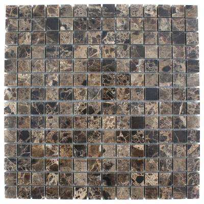 Dark Emperidor Squares 12 in. x 12 in. x 8 mm Marble Floor and Wall Tile