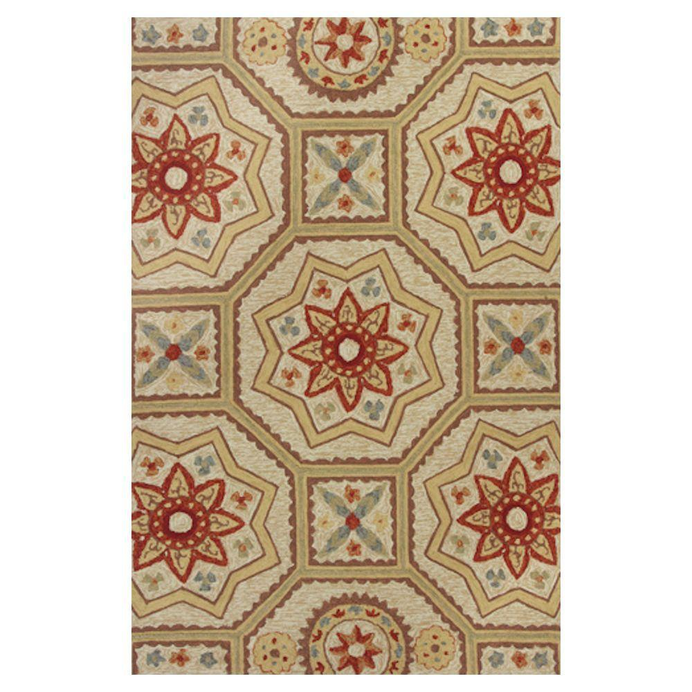 Kas Rugs Mosaic Motif Beige/Red 7 ft. 6 in. x 9 ft. 6 in. Area Rug