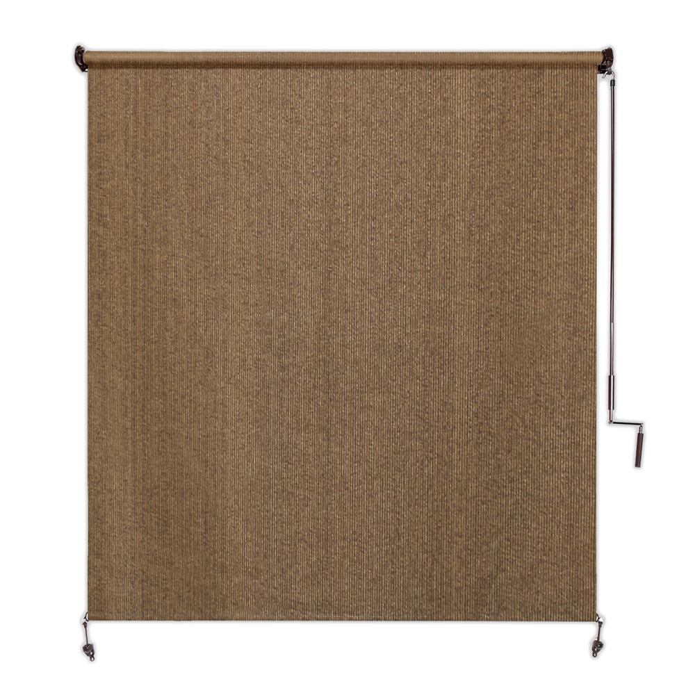 Coolaroo Walnut Cordless Light Filtering Fade Resistant Fabric Exterior Roller Shade 48 in. W x 96 in. L