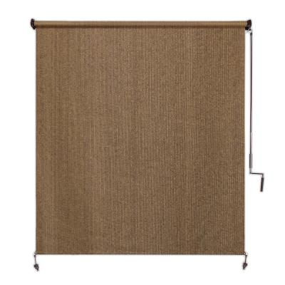 Walnut Cordless Light Filtering Fade Resistant Fabric Exterior Roller Shade 48 in. W x 96 in. L