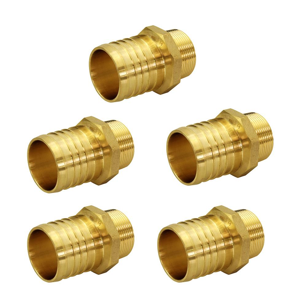 The Plumber's Choice 3/4 in. Brass PEX Barb x 1/2 in. Male Pipe Thread Adapter Fitting (5-Pack)