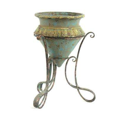 Large Magnesium Pot with Iron Plant Stand