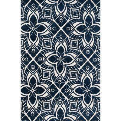Cassidy Lifestyle Collection Ivory/Navy 9 ft. 3 in. x 13 ft. Area Rug