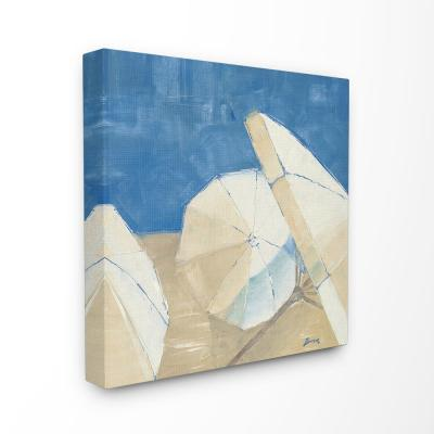 "30 in. x 30 in. ""Umbrellas and a Royal Blue Sky Beach Painting"" by John Burrows Canvas Wall Art"