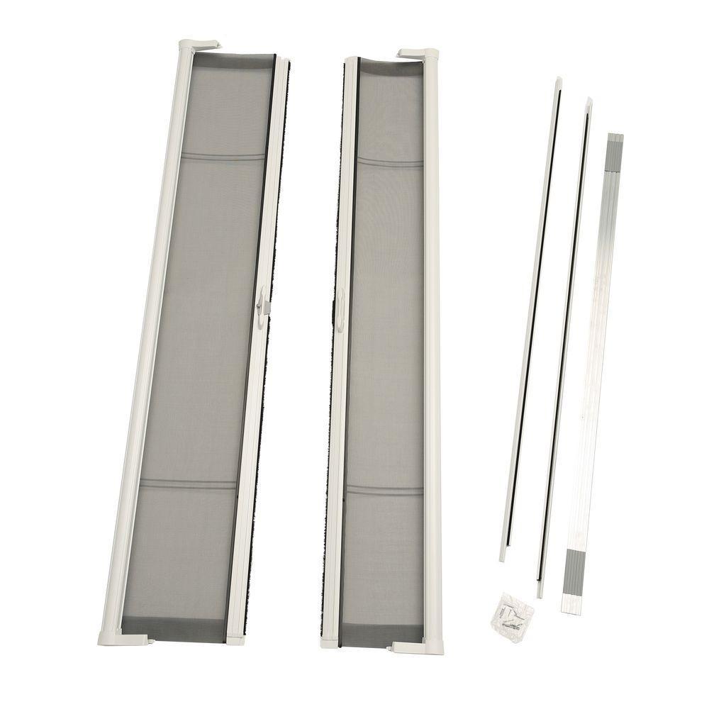 72 in. x 80 in. Brisa White Standard Height Double Door Kit Retractable Screen Door