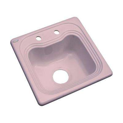 Oxford Drop-In Acrylic 16 in. 2-Hole Single Bowl Kitchen Sink in Wild Rose