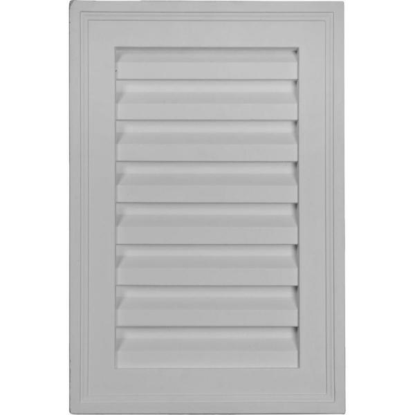 12 in in. x 18 in. Rectangular Primed Polyurethane Paintable Gable Louver Vent Non-Functional