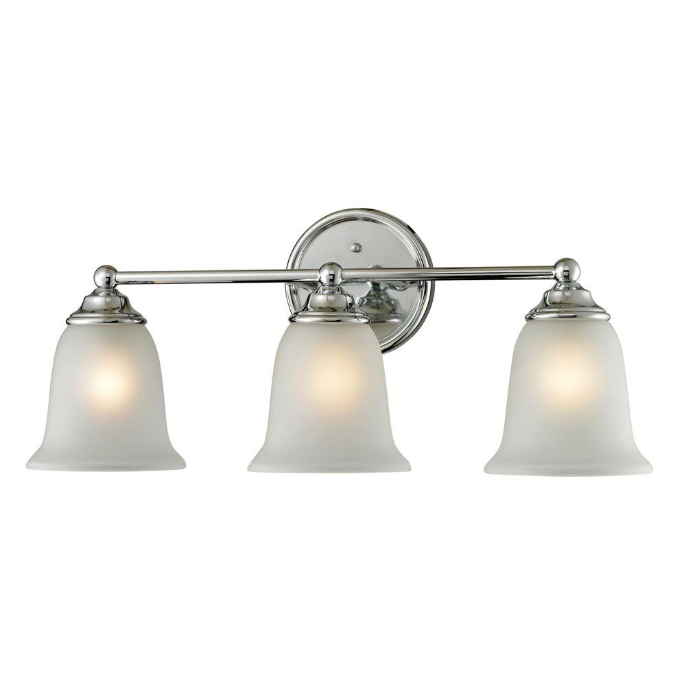 Titan Lighting Sudbury 3-Light Chrome Wall Mount Bath Bar Light