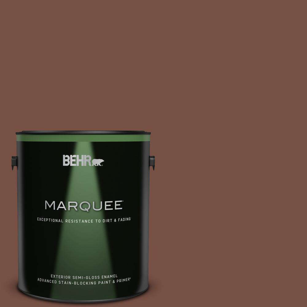 Behr Marquee 1 Gal S190 7 Toasted Pecan Semi Gloss Enamel Exterior Paint And Primer In One 545301 The Home Depot
