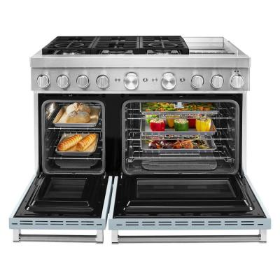 48 in. 6.3 cu. ft. Double Oven Dual Fuel Range with Self-Cleaning and True Convection in Misty Blue
