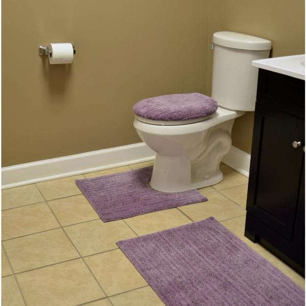 "Soft 21/"" x 34/"" Washable Bathroom 3 Piece Rug Set Non-Slip Nylon Assorted Colors"