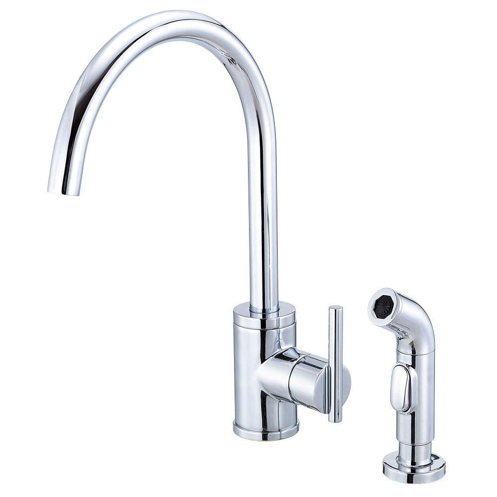 Danze Parma Side Mount Single-Handle Side Sprayer Kitchen Faucet ...