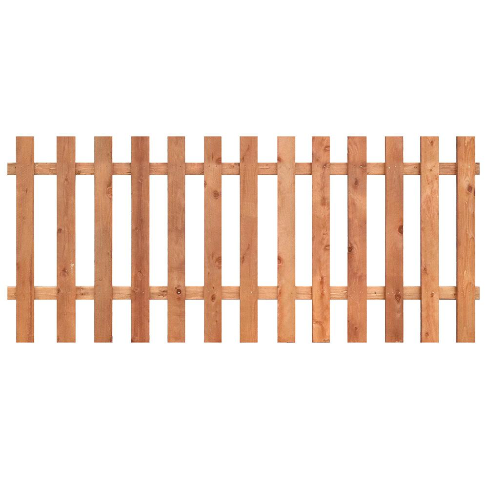 Outdoor Essentials 3-1/2 ft. x 8 ft. Western Red Cedar Spaced Picket Flat Top Fence Panel Kit
