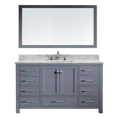 Caroline Avenue 60 in. W x 36 in. H Vanity in Gray Finish Marble Vanity Top in White with White Square Basin and Mirror