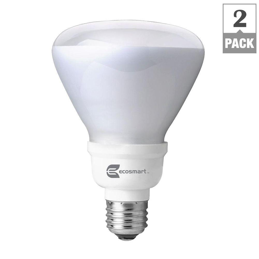 Ecosmart 65 Watt Equivalent Br30 Cfl Light Bulb Soft White 2 Pack Esbr314ib2 The Home Depot