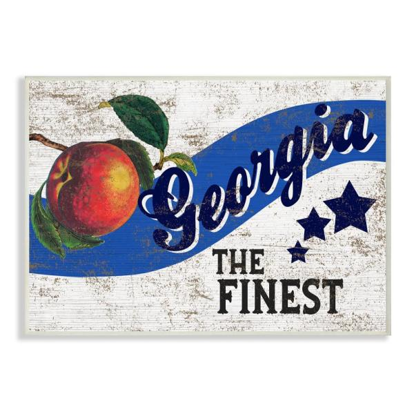 "Stupell Industries 12.5 in. x 18.5 in. ""Star Fruit Crate Finest Peaches Georgia State"" by Artist Daphne Polselli Wood Wall Art"