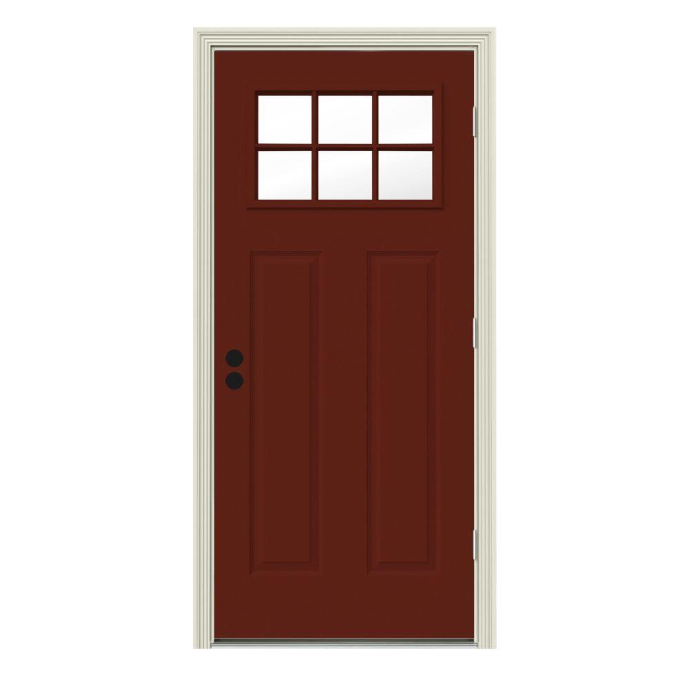 JELD-WEN 34 in. x 80 in. 6 Lite Craftsman Mesa Red Painted Steel Prehung Left-Hand Outswing Front Door w/Brickmould