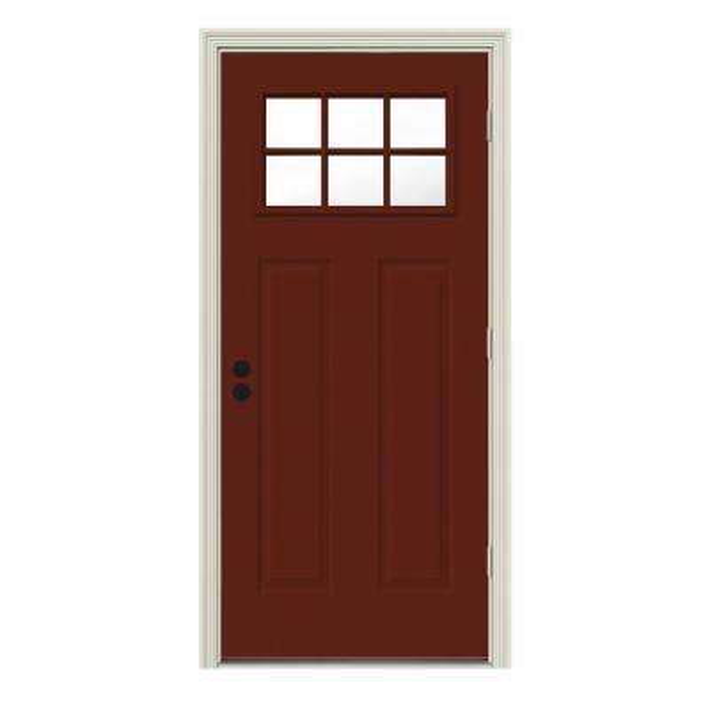 34 in. x 80 in. 6 Lite Craftsman Mesa Red Painted Steel Prehung Left-Hand Outswing Front Door w/Brickmould