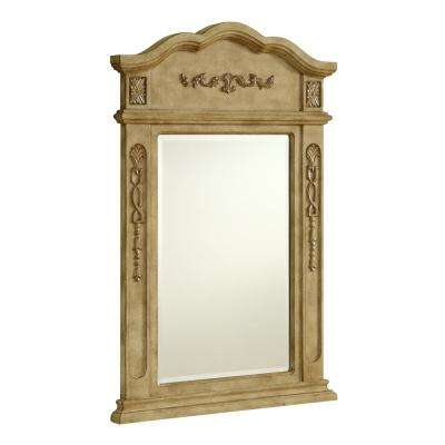 Abbott 24 in. Traditional Mirror with Antique Beige MDF Frame, Irregular Shape, Mounting Type: Brackets