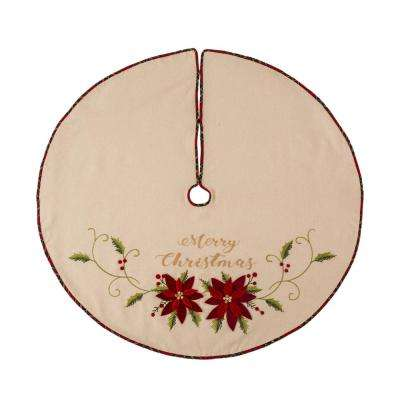48 in. D Fabric Christmas Tree Skirt in Poinsettia