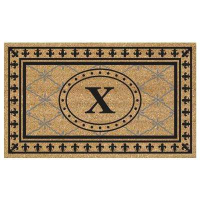 Bungalow 18 in. x 30 in. SuperScraper Vinyl/Coir Monogrammed X Door Mat